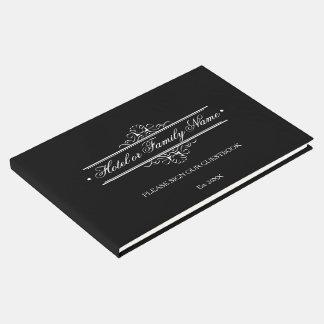 Livre D'or Hôtel ou famille personnalisé par noir élégant