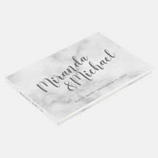 Livre D'or Mariage de marbre blanc élégant personnalisé
