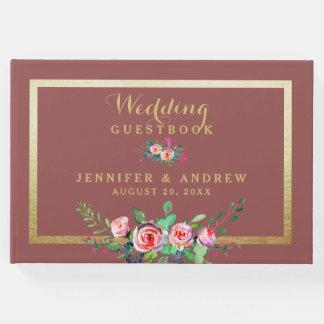Livre D'or Mariage personnalisé floral d'or élégant de