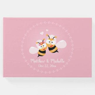 Livre D'or Mariage rose élégant de miel d'abeilles de marié