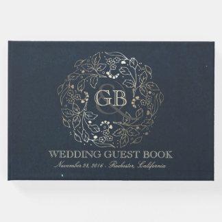 Livre D'or Mariage vintage de guirlande florale d'or et de