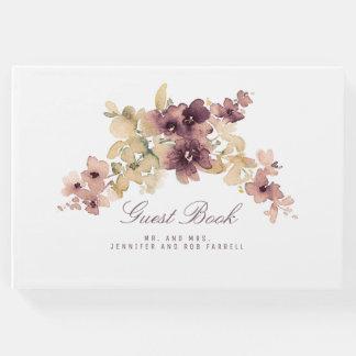 Livre D'or Mauve et mariage vintage floral d'or