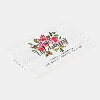 Livre D'or Monogramme en bois blanc de mariage de houx