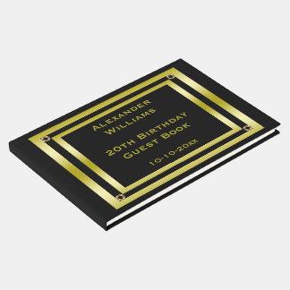Livre D'or Noir élégant et anniversaire encadré par or