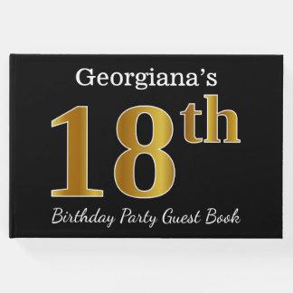 Livre D'or Noir, fête d'anniversaire d'or de Faux 18ème + Nom