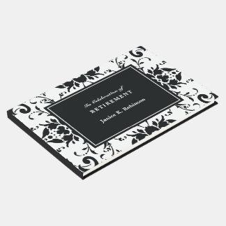 Livre D'or Retraite noire et blanche de damassé élégante