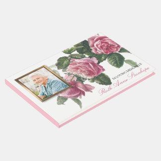 Livre D'or Rose de thé funèbre commémoratif d'antiquité de