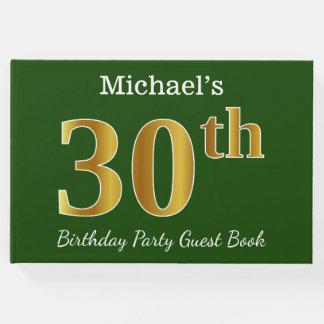 Livre D'or Vert, fête d'anniversaire d'or de Faux 30ème + Nom