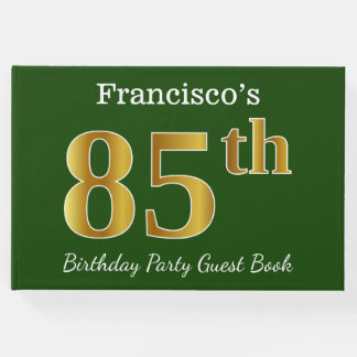 Livre D'or Vert, fête d'anniversaire d'or de Faux 85th + Nom