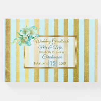 Livre élégant rayé de mariage de bleu et d'or