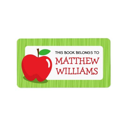 Livre texturisé vert pomme rouge d'ex-libris de étiquettes d'adresse