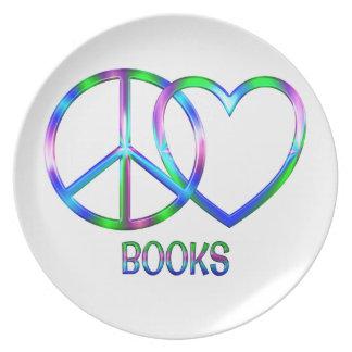 Livres brillants d'amour de paix assiette