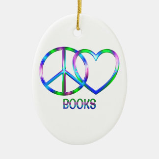 Livres brillants d'amour de paix ornement ovale en céramique