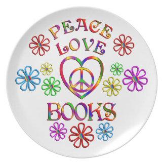 Livres d'amour de paix assiettes en mélamine