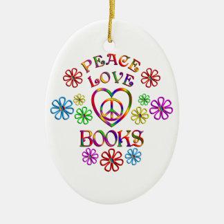 Livres d'amour de paix ornement ovale en céramique