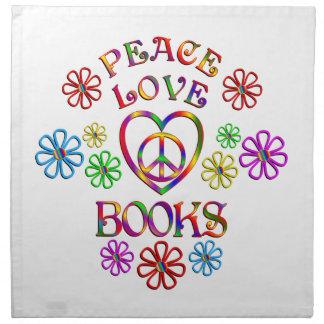 Livres d'amour de paix serviettes en tissus