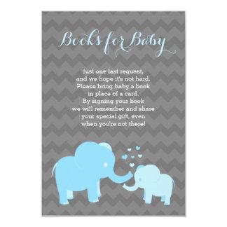 Livres d'éléphant pour le gris bleu d'insertion de carton d'invitation 8,89 cm x 12,70 cm