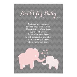 Livres d'éléphant pour le gris de rose d'insertion carton d'invitation 8,89 cm x 12,70 cm