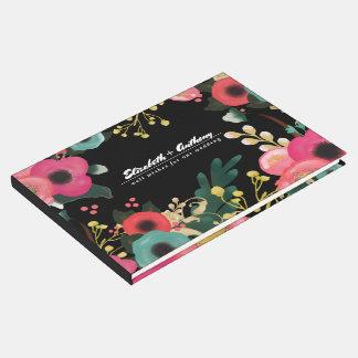 Livres d'invité floraux modernes de mariage livre d'or