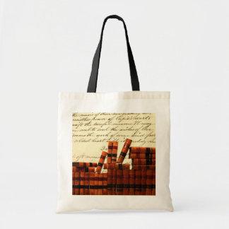 Livres en cuir antiques sac de toile