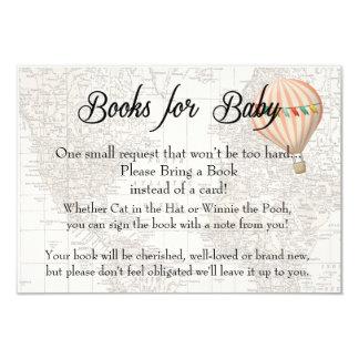 Livres pour la fille chaude de ballon à air de carton d'invitation 8,89 cm x 12,70 cm
