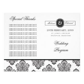 Livret moderne de programme de mariage de monogram prospectus 21,6 cm x 24,94 cm