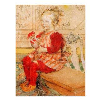 Lizbeth tenant une poupée carte postale