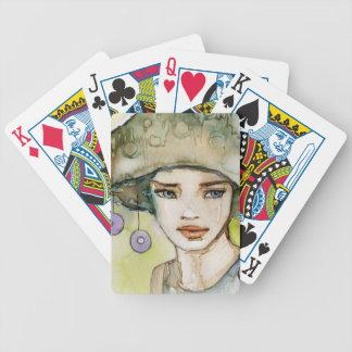 llustration d'une belle, sensible fille jeux de cartes