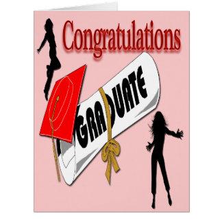 L'obtention du diplôme (femelle) rouge de carte de vœux grand format