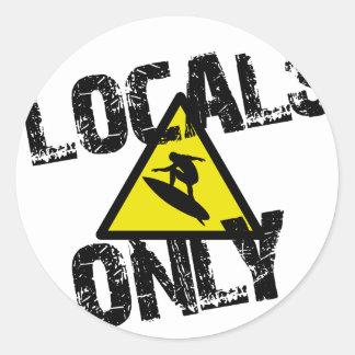 Locals only surfer danger sign surf sticker rond