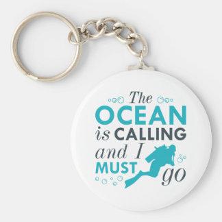 L'océan appelle porte-clé rond