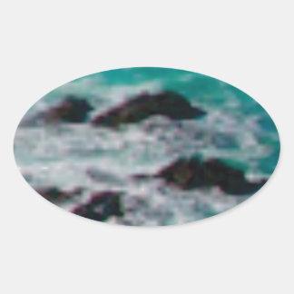 l'océan bascule le rivage sticker ovale