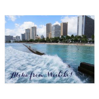 L'océan pacifique de Honolulu Hawaï de plage de Carte Postale