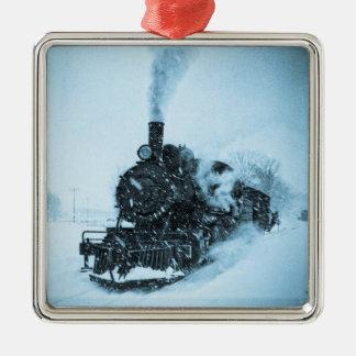 Locomotive bloquée par la neige ornement carré argenté