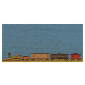 Locomotives d'art de pixel clé USB 3.0 en bois