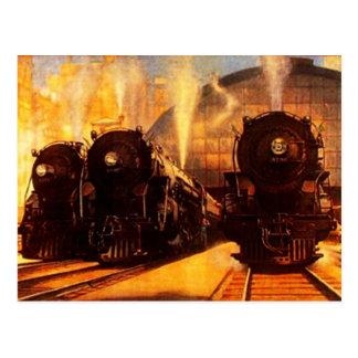 Locomotives triples à la CARTE POSTALE de station