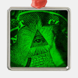 L'oeil d'Illuminati Ornement Carré Argenté
