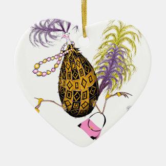 L'oeuf ouvrier de diamant d'or, fernandes élégants ornement cœur en céramique