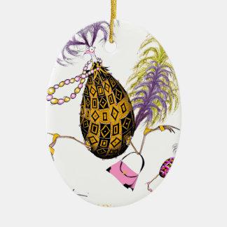 L'oeuf ouvrier de diamant d'or, fernandes élégants ornement ovale en céramique