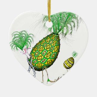 L'oeuf ouvrier de diamant vert, fernandes élégants ornement cœur en céramique