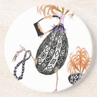 L'oeuf ouvrier d'opale noire, fernandes élégants dessous de verres