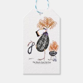L'oeuf ouvrier d'opale noire, fernandes élégants étiquettes-cadeau