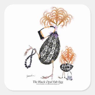 L'oeuf ouvrier d'opale noire, fernandes élégants sticker carré