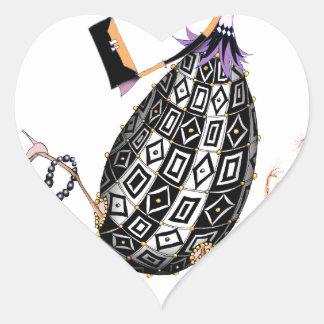 L'oeuf ouvrier d'opale noire, fernandes élégants sticker cœur