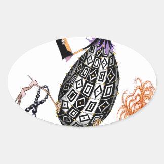 L'oeuf ouvrier d'opale noire, fernandes élégants sticker ovale
