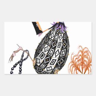 L'oeuf ouvrier d'opale noire, fernandes élégants sticker rectangulaire