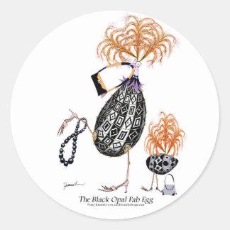 L'oeuf ouvrier d'opale noire, fernandes élégants sticker rond
