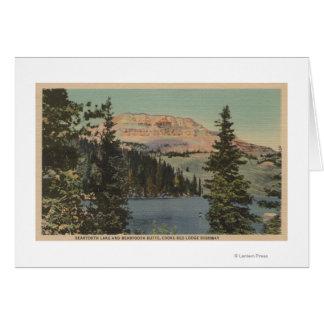 Loge rouge, TA - vue de lac Beartooth et butte Carte De Vœux
