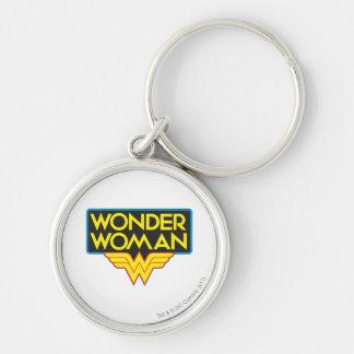 Logo 3 de femme de merveille porte-clé rond argenté