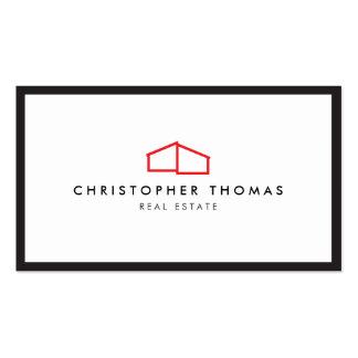 Logo à la maison moderne en rouge pour les carte de visite standard